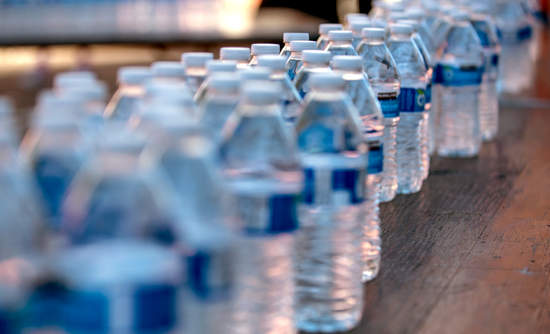 line of water bottles