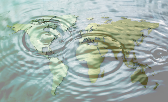 rippling water on world map