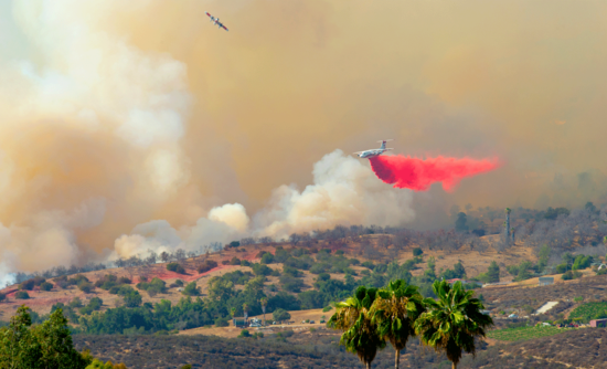 wildfire in San Diego County in California