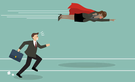 Flying super-businesswoman surpasses a businessman on the ground