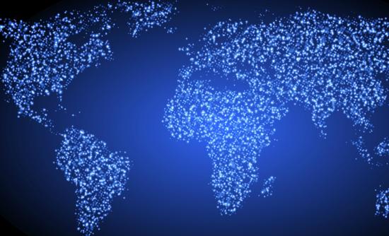World map of lights