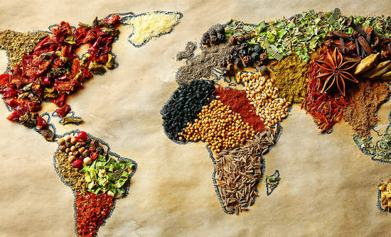 A world map, drawn in spices.