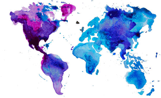 Watercolor image of the world's continents