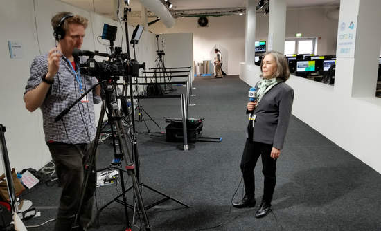 WRI's Paula Caballero getting ready to speak to Deutsche Welle.