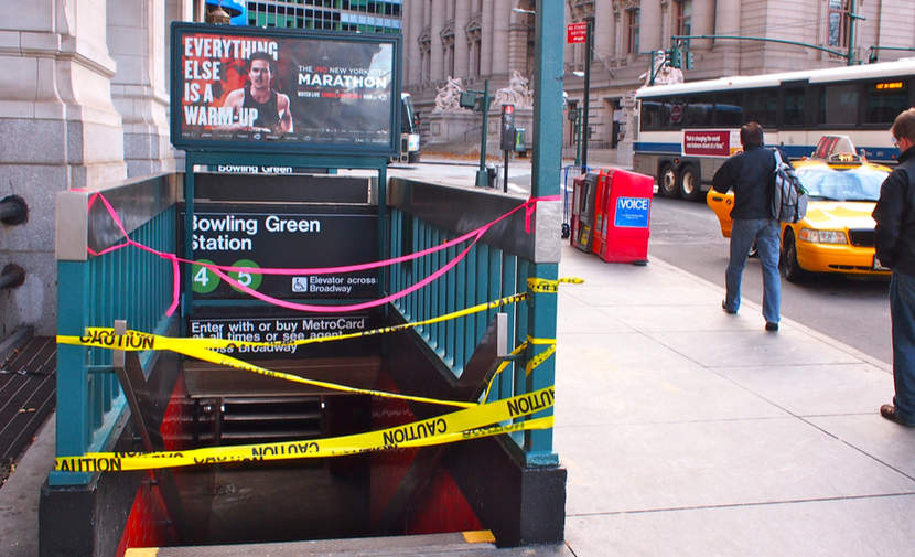 Flooding closes a New York Subway station in October 2012.