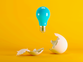 light bulb above egg shell