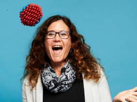 CEO Rachael Miller juggling a Cora Ball