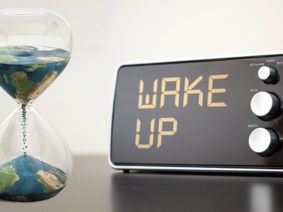 Image with world in an hourglass and an alarmclock
