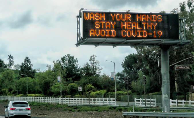 Freeway Virus Warning On a Southern California freeway.