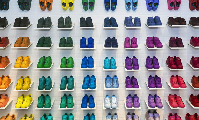 A row of shoes in a Moscow store.