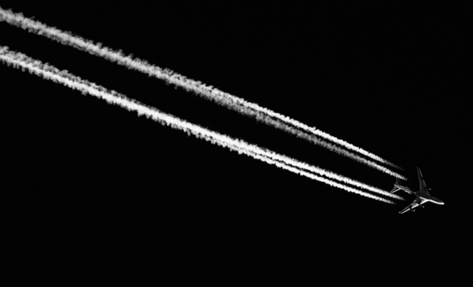 An airplane in black and white
