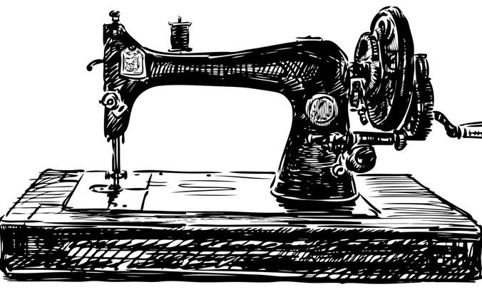 Drawing of an antique sewing machine