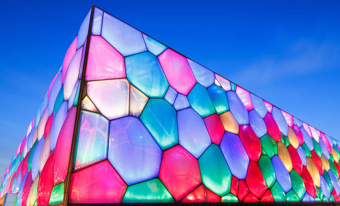 "The ""watercube"" National Aquatic Center in Beijing, China"