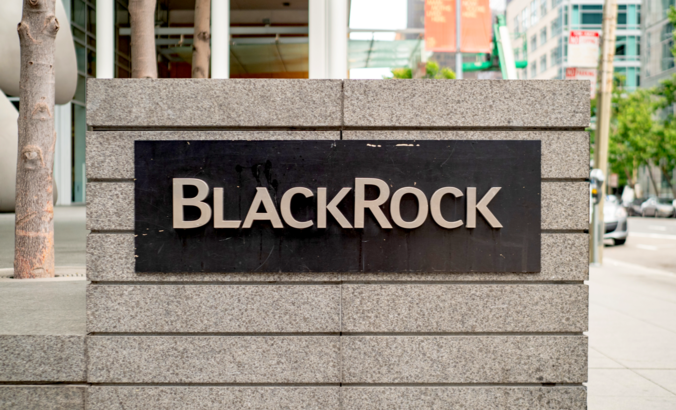 BlackRock financial services logo outside of office in San Francisco.