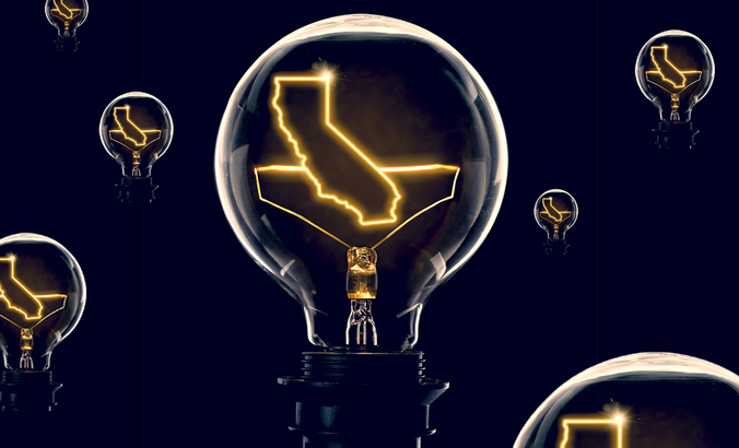 State of California, in a lightbulb