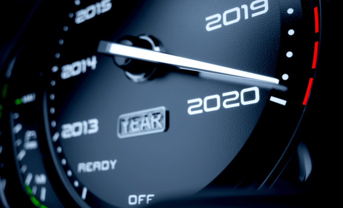 Car speed meter approaching 2020