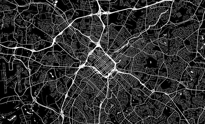 Black and white illustration of a map of Charlotte, NC