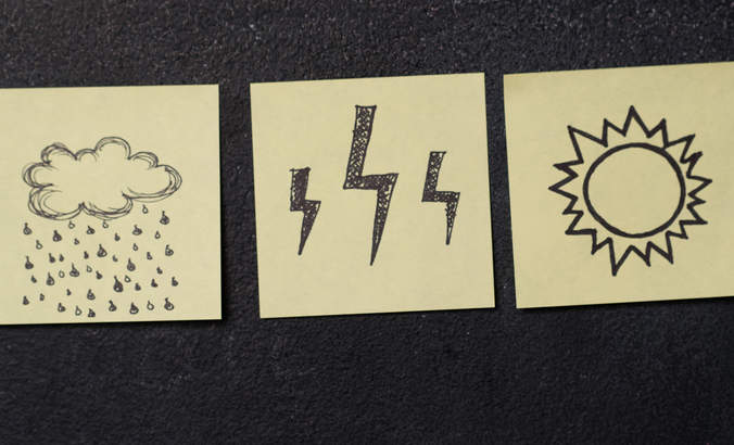 Post-It notes showing sunshine, clouds and rain