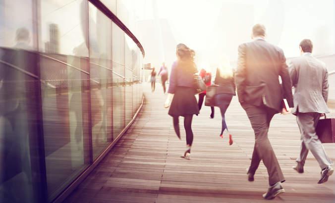 commuters, walking