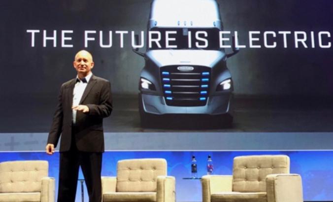 Daimler Trucks CEO Roger Nielsen speaks at the ACT Expo on electric trucks