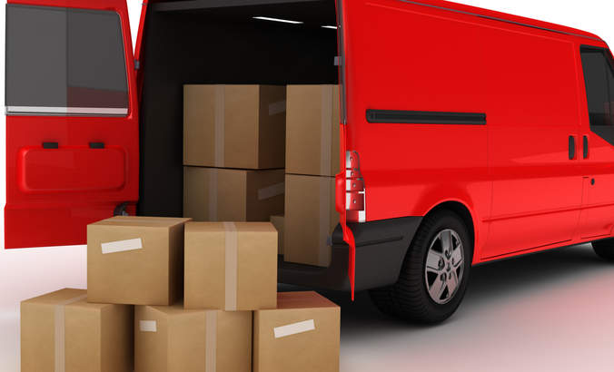 Delivery van with boxes