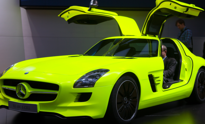 The SLS AMG Mercedes Benz E-Cell in Detroit, Michigan.