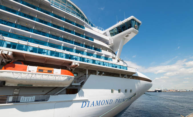 The Diamond Princess, a cruise ship owned and operated by Princess Cruises, docked in Yokohama, Japan.