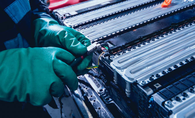 Electric vehicle battery disassembly