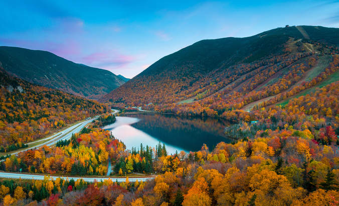 Autumn foliage in New Hampshire's Franconia Notch State Park