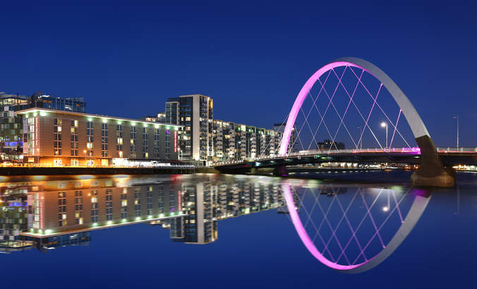 Glasgow Clyde Arc night scene