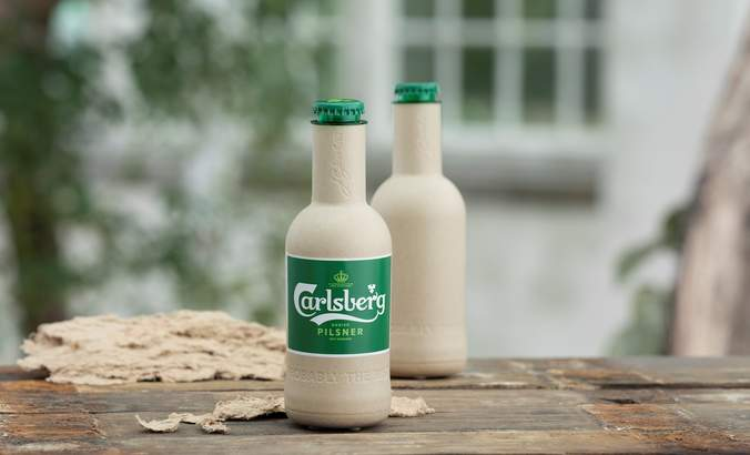 Carlsberg's green fiber bottle prototypes