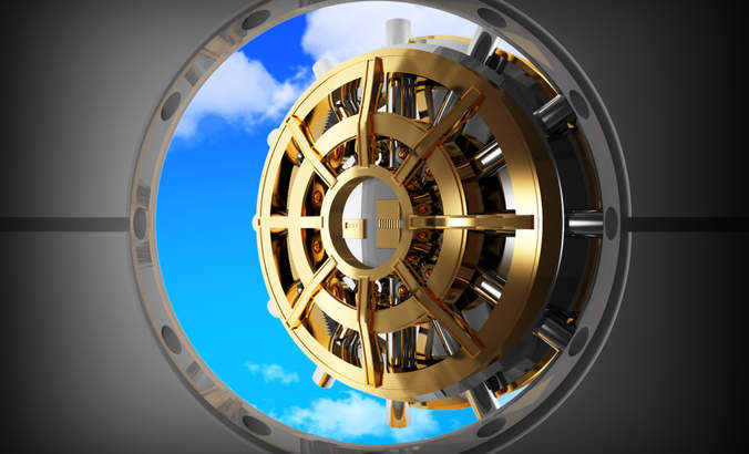 Bank vault door opens to blue skies