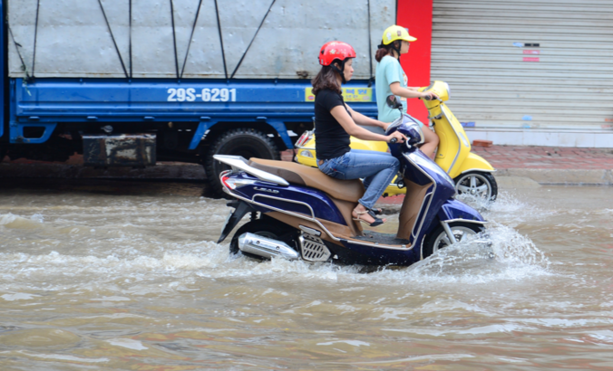 Flooded Hanoi street after a rain