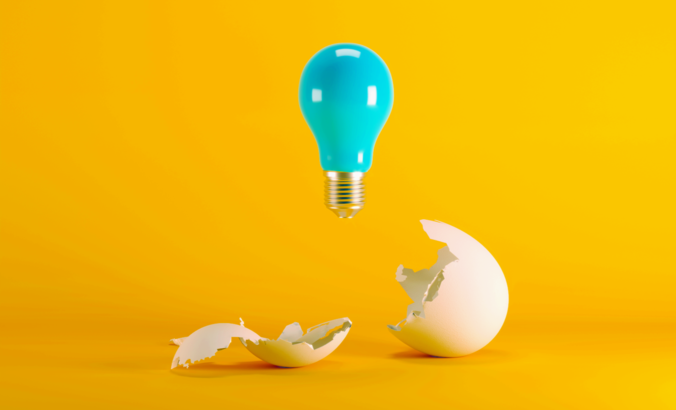 light bulb above egg shell