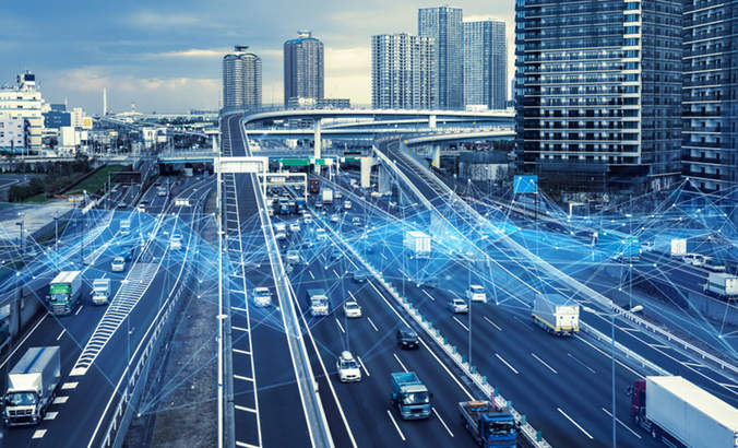 Cars on road with network signals