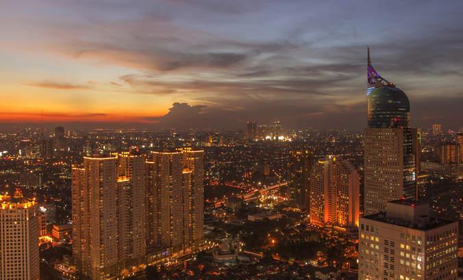 Jakarta skyline at sunset