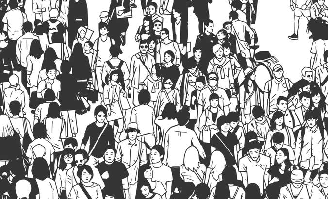 Black and white illustration of a crowd in a large city