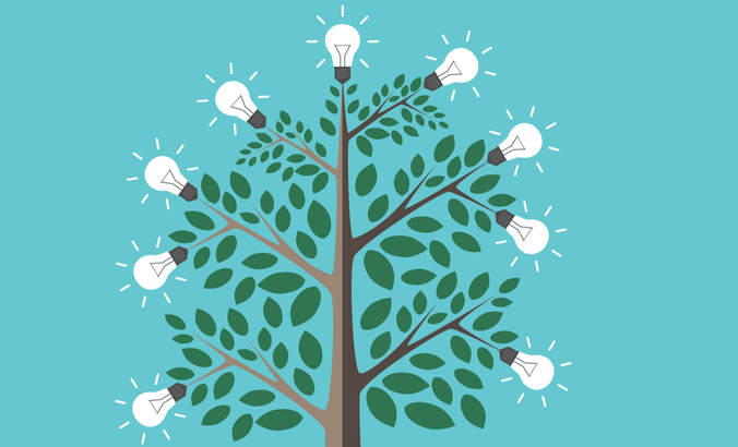 Illustration of light bulbs on a tree