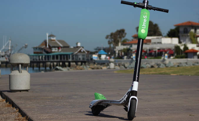 A lime scooter in San Diego in April