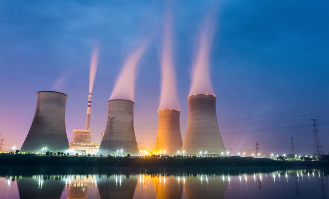 Power plant on river