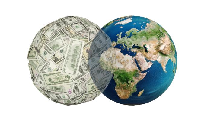 Venn Diagram of globe and ball of money