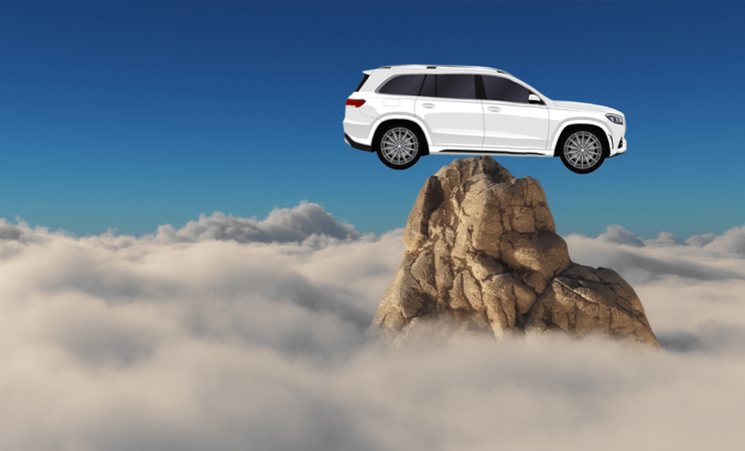 car on a mountain peak