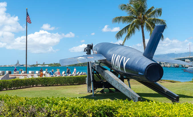 Pearl Harbor, Hawaii: aircraft fighter at the U.S.S. Arizona Memorial in 2016.