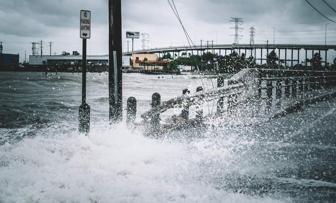 Water coming over the streets in Kemah, Texas during Hurricane Harvey