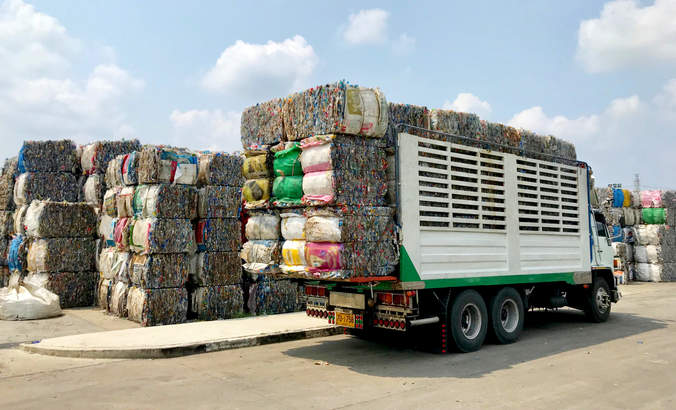 recycling bales in truck