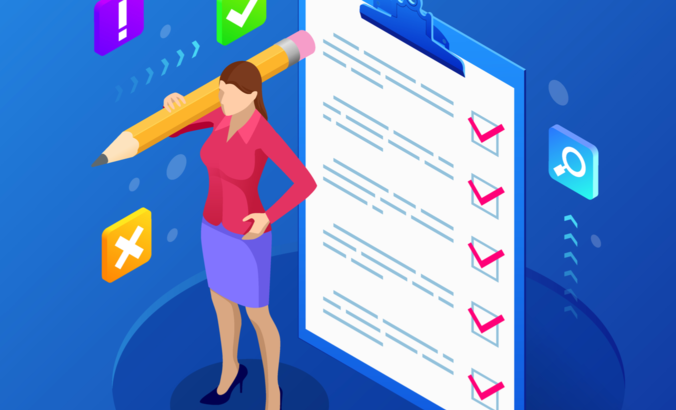 Illustration of a woman with a checklist