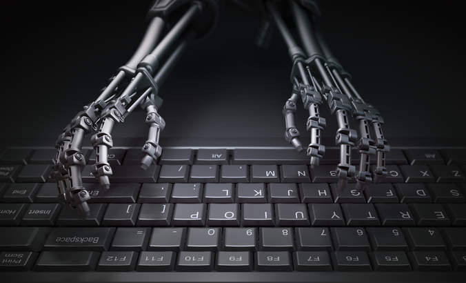 Robot hands typing on a computer keyboard, automation and AI research concept illustration