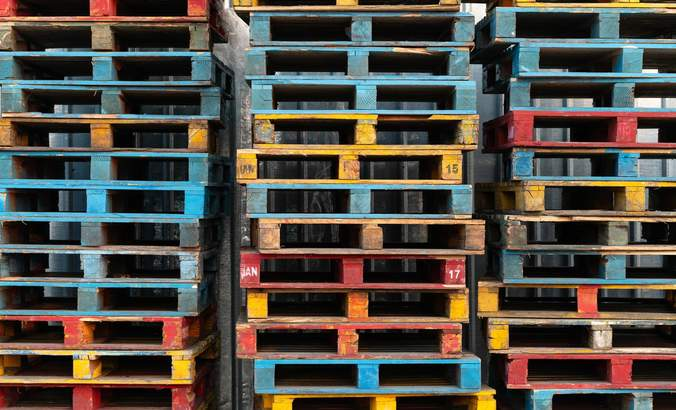 colorful shipping pallets
