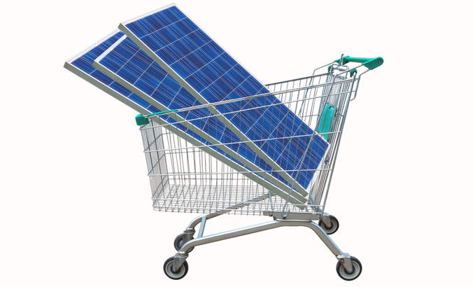 Solar panels in a shopping cart