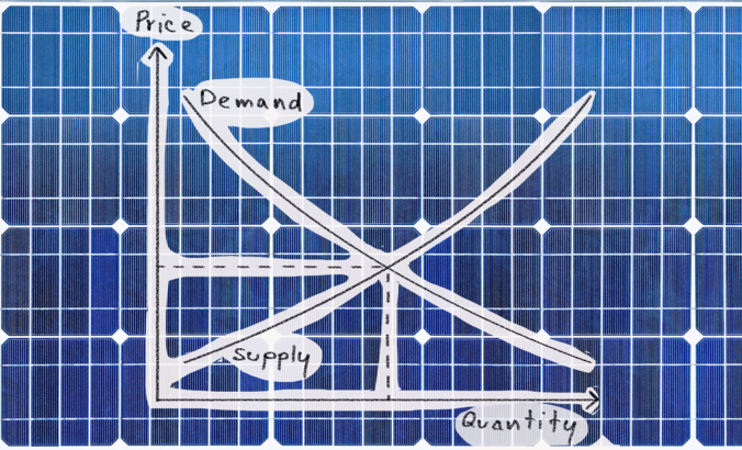 solar panel with a supply demand graph over it